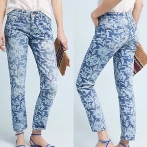 Anthro Pilcro Slim Boyfriend Jean High Rise Floral